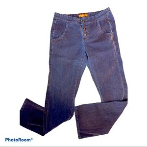 lee one true fit corduroy button fly blue pants